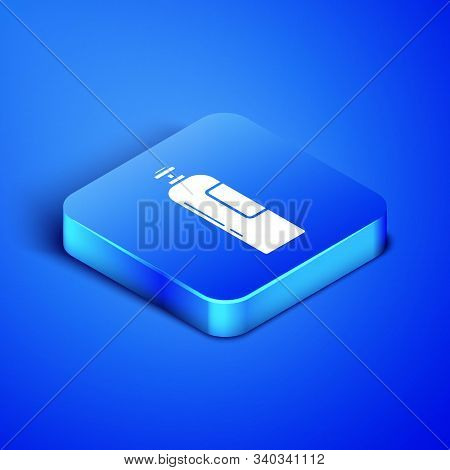 Isometric Industrial Gas Cylinder Tank For All Inert And Mixed Inert Gases Icon Isolated On Blue Bac
