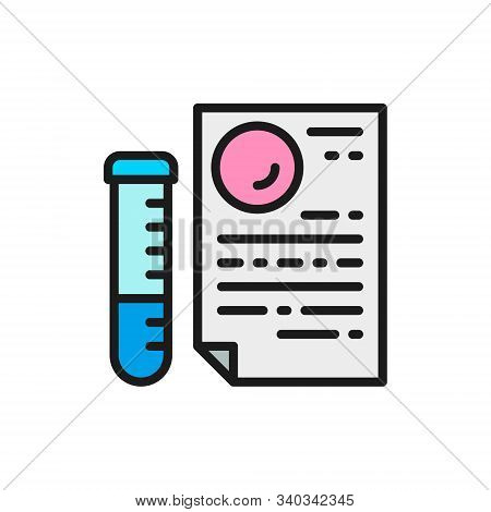 Medical Glass Tube With Document, Paternity Test Result Flat Color Line Icon.