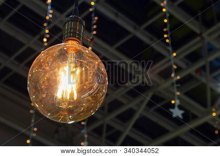 Light Bulb With Thread Filament Festive Illuminations Vintage