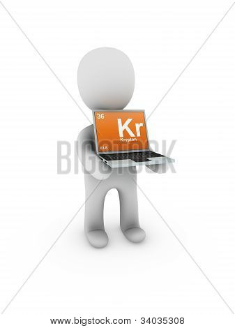 Krypton  Symbol On Screen Laptop