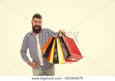 Consumer Protection Concept. Man Happy Consumer Hold Shopping Bags. Buy And Sell. Consumer Protectio