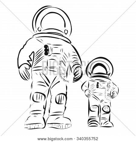 Two Astronauts In Helmets And Suits, An Adult And A Child, Father And Son. Vector Illustration Of Bl