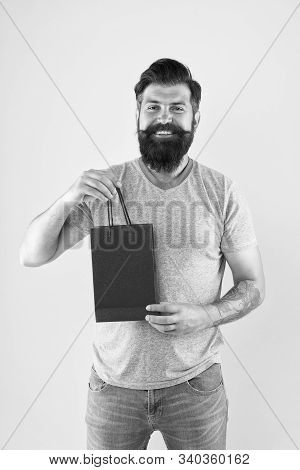 Best Offer. Man With Package. Cyber Monday Concept. Little Pleasantness. Bearded Man Go Shopping. St