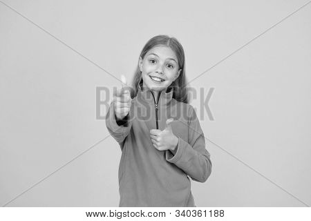 Good Choice. Happy Girl Pointing Gun Hand Gesture. Target And Targeting. Small Child Smiling And Poi