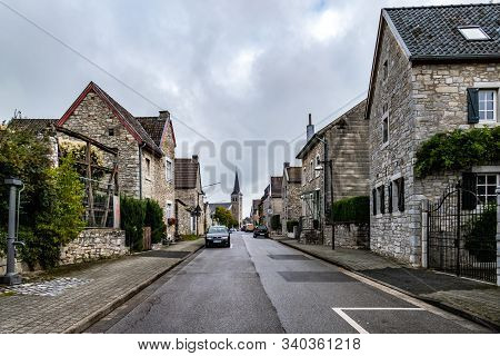 Breinig-stolberg, Germany - Sept. 08, 2019: Village View On Main Street And Traditional Houses In Th