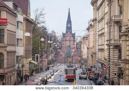 Brno, Czechia - November 5, 2019: Jan Amos Comenius Church, Or Chram Jana Amose Komenskeho, Or Red C
