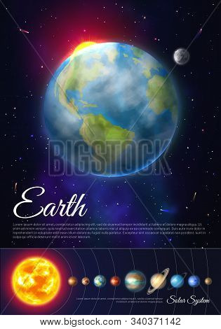 Earth Planet Colorful Poster With Solar System. Galaxy Discovery And Exploration. Realistic Planetar