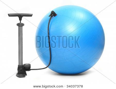 Air pump and blue ball on a white background.