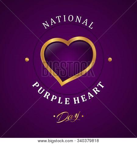 Luxury Design Purple Heart Appreciation Day Background. Luxury Heart Vector Symbol Purple Heart Day.