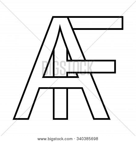 Logo Af Icon Sign Interlaced Letters A, F Vector Logo Af First Capital Letters Pattern Alphabet A, F