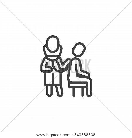 Doctor Checking Patient Line Icon. Linear Style Sign For Mobile Concept And Web Design. Doctor With