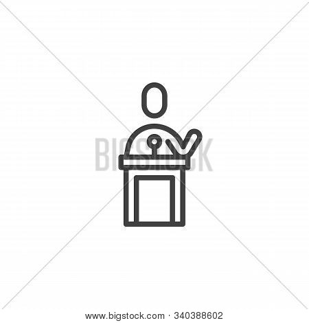 Orator Speaking From Tribune Line Icon. Linear Style Sign For Mobile Concept And Web Design. Public