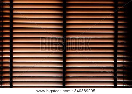 Beautiful Close-up Wooden Brown Bamboo Curtain Pattern With Passing Through Sunlight