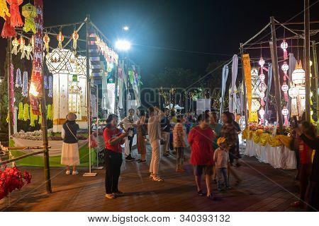 Phayao, Thailand - November 10, 2019: Crowd With Paper Lanterns In Loi Krathong Festival At Phayao T