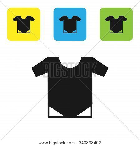 Black Baby Onesie Icon Isolated On White Background. Baby Clothes Symbol. Kid Wear Sign. Set Icons C