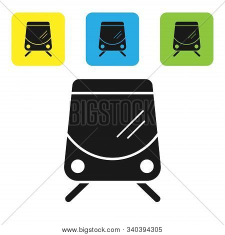 Black Tram And Railway Icon Isolated On White Background. Public Transportation Symbol. Set Icons Co