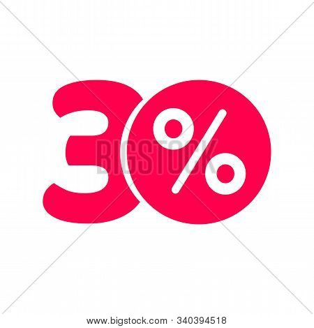 Thirty Percent Off Discount Or 30 Offer Label Vector Promotion, Flat Red Number 30 With Price Save P