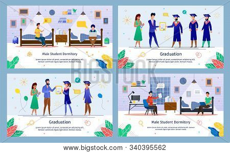 College Students Graduation And Dormitory Life Routine Trendy Flat Vector Banner, Poster Templates S