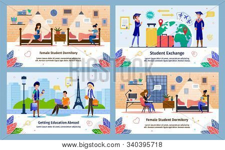 Education Abroad With Students Exchange Program, Female Students Dormitory Trendy Flat Vector Banner