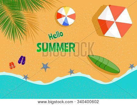 Vector summer beach with beach umbrellas, waves, palm tree and a swimming Board vector. Hello Summer, summer time, summer day, summer day background, summer banners, summer flyer, summer design, summer with people in the pool, vector illustration.