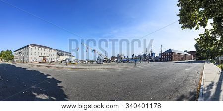 Boston, Usa - Sep 21, 2017: Panorama Of Wharf And Museum Area Of Historic Uss Constitution Ship In T