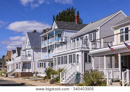 Gloucester, Usa - Sep 29, 2017: Old Wooden Houses In Victorian Style From Former Ship Captains Or Of