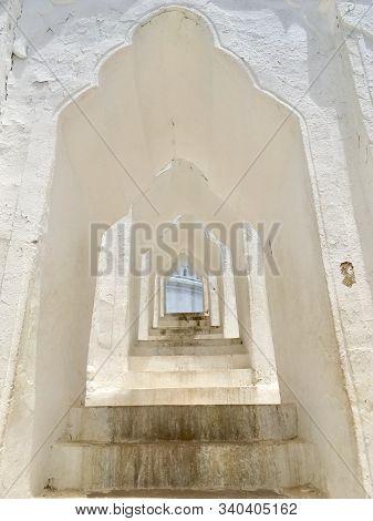 Beautiful White Arch Curved Part Of Hsinbyume Pagoda (mya Thein Tan) Pagoda In Mingun Near Mandalay