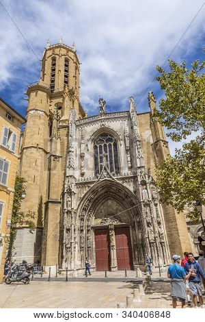 Aix En Provence, France - Aug 11, 2017: People Visit Famous Church Saint Jean De Malte In Aix En Pro