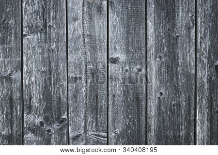 Dark Gray Wood Fence. Shabby Table. Old Grey Wooden Boards. Pattern Of Cracked Planks. Strips On Woo