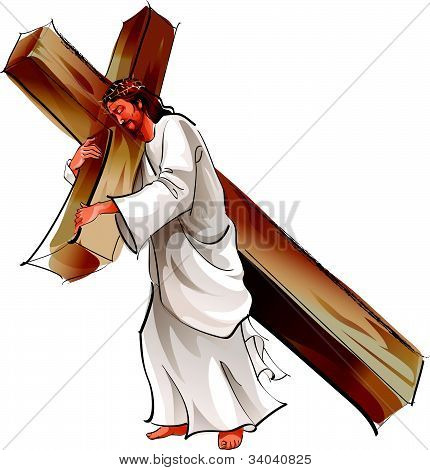 Side view of Jesus Christ holding cross