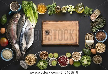 Omega 3 Background. Source Of Omega 3 Products. Sea Fish, Nuts, Grains And Vegetables