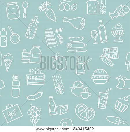 Food, Seamless Pattern, Blue, Contour, Grocery, Vector. Food And Drinks, Production And Sale. Vector