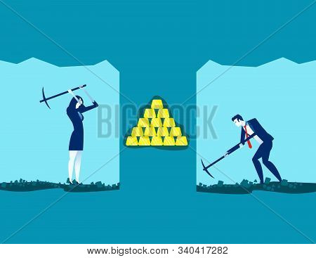 Team Gold Digger. Concept Business Vector Illustration, Working, Achievement, Successful.