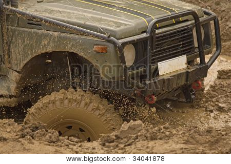 Detailed View Of The Car In A Muddy Puddle