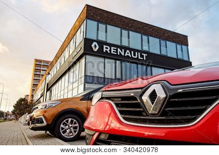 Ostrava, Czech Republic - December 10, 2019: The Detail Of Badge And Frontal Part Of Red Renault Cap