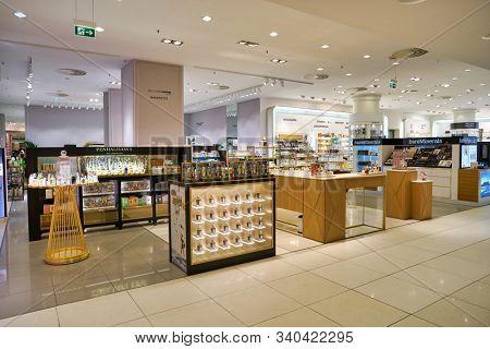 BERLIN, GERMANY - CIRCA SEPTEMBER, 2019: perfumes on display at the Kaufhaus des Westens (KaDeWe) department store in Berlin.