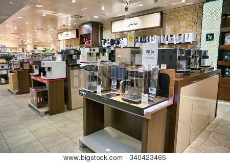 BERLIN, GERMANY - CIRCA SEPTEMBER, 2019: coffeemakers on display at the Kaufhaus des Westens (KaDeWe) department store in Berlin.
