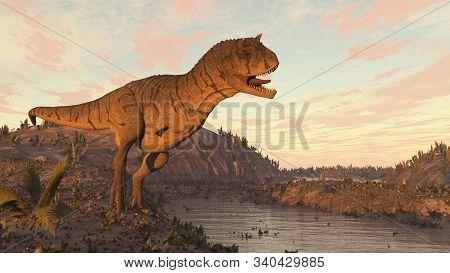 Carnotaurus Dinosaur Roaring At Sunset - 3d Render