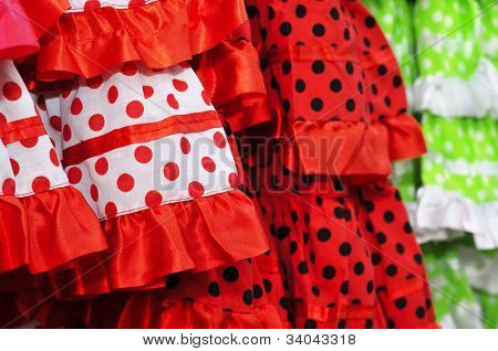 closeup of some flamenco dresses typical of Spain