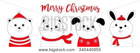 Merry Christmas. Bunny Rabbit, Cat Kitten, Dog Puppy, Bear Face Head Black Line Doodle Icon Set. Red