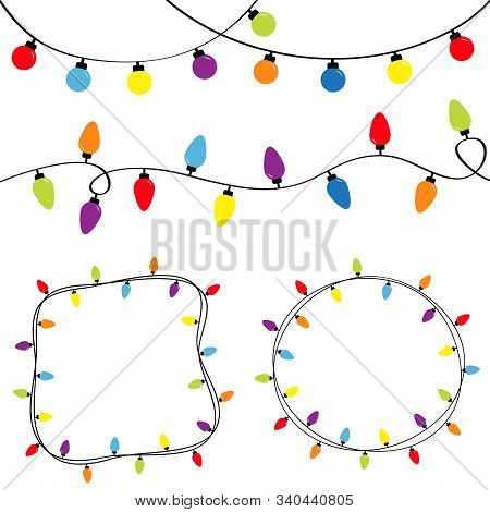 Christmas Lights Set. Colorful String Fairy Light. Round And Square Empty Frame. Holiday Festive Rou