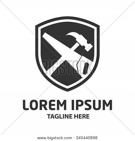 Hammer And Saw Vector Icon Isolated On White Background From Construction Collection. Symbol Of Repa