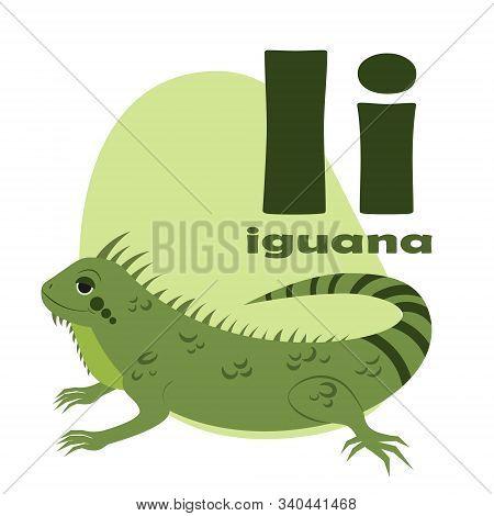 Abc Alphabet Illustration. Vector Cute Kids Animal Alphabet. Letter I. Cute Cartoon Iguana.