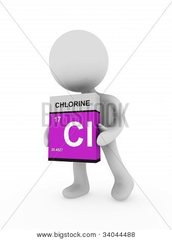 3D Man Carry A Chlorine Box