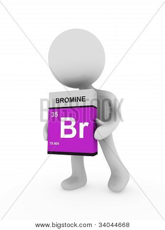 3D Man Carry A Bromine Box
