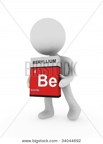 3D Man Carry A Beryllium Box
