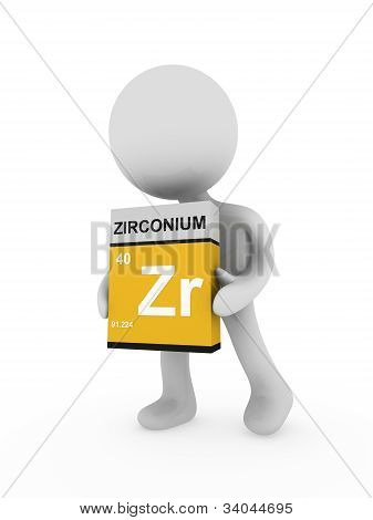 3D Man Carry A Zirconium Box