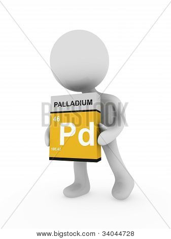 3D Man Carry A Palladium Box