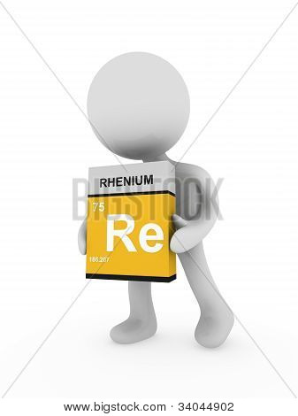 3D Man Carry A Rhenium Box