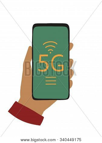 Hand Holding Mobile Phone Connecting To 5g Internet. Mobile Broadband Connection, Wireless Innovatio